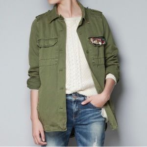Zara Trafaluc Military Rhinestone Jewel Jacket - L